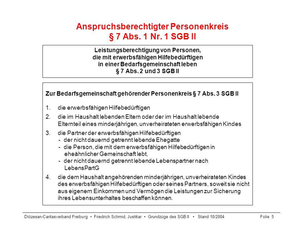 Anspruchsberechtigter Personenkreis § 7 Abs. 1 Nr. 1 SGB II