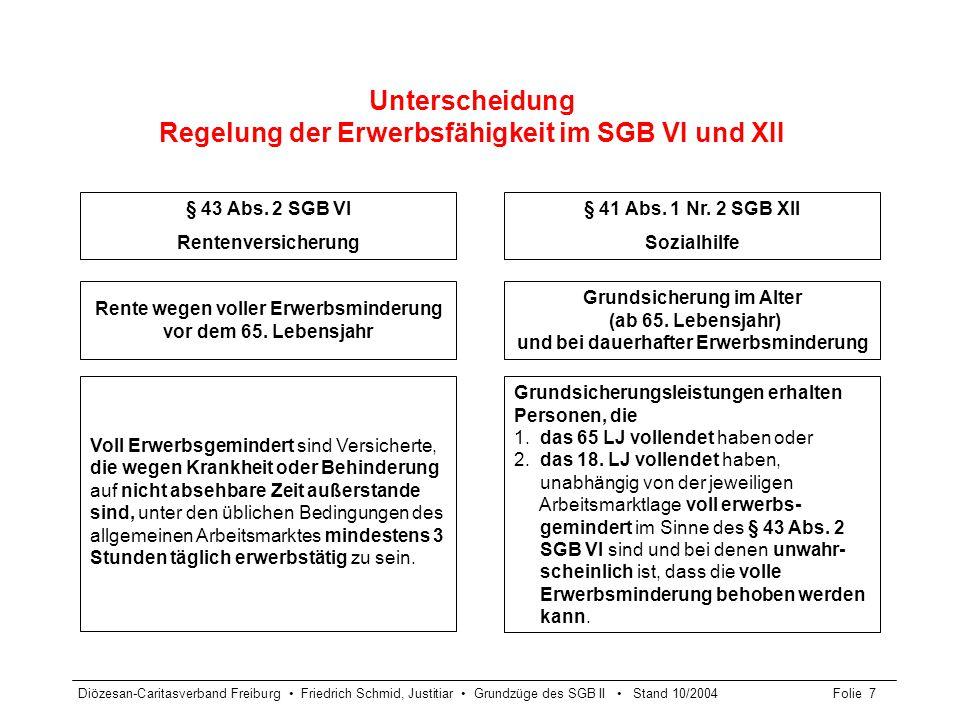 Unterscheidung Regelung der Erwerbsfähigkeit im SGB VI und XII