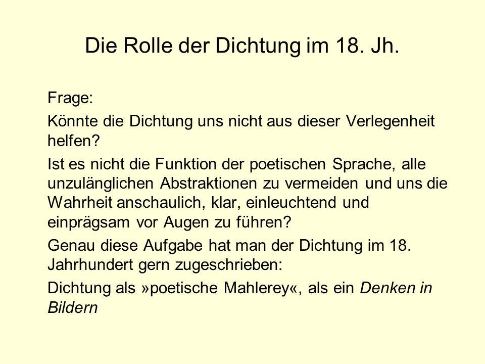 Die Rolle der Dichtung im 18. Jh.