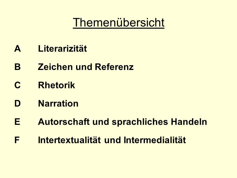 Themenübersicht A Literarizität B Zeichen und Referenz C Rhetorik