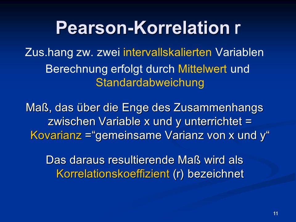 Pearson-Korrelation r