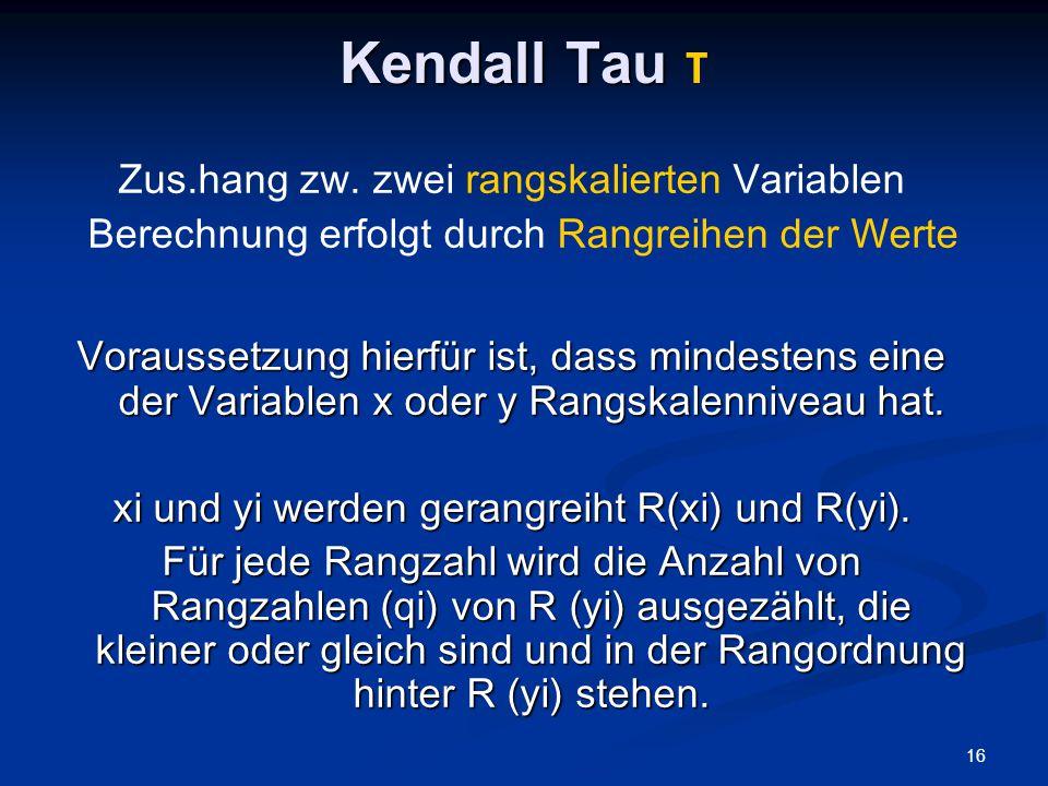 Kendall Tau τ Zus.hang zw. zwei rangskalierten Variablen