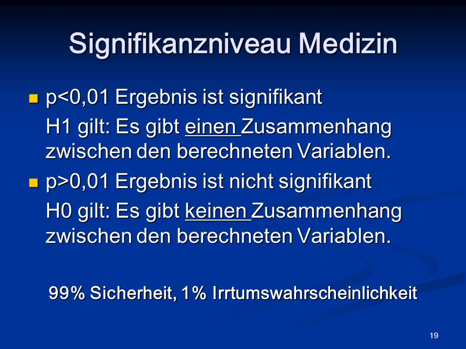 Signifikanzniveau Medizin