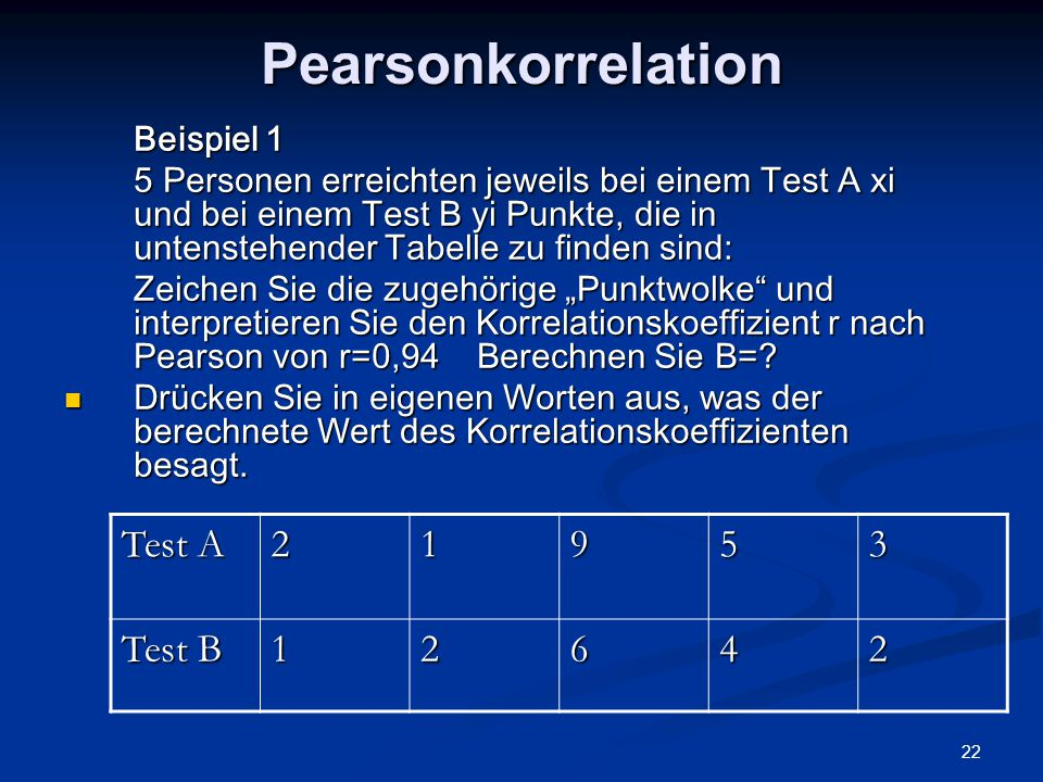 Pearsonkorrelation Test A 2 1 9 5 3 Test B 6 4