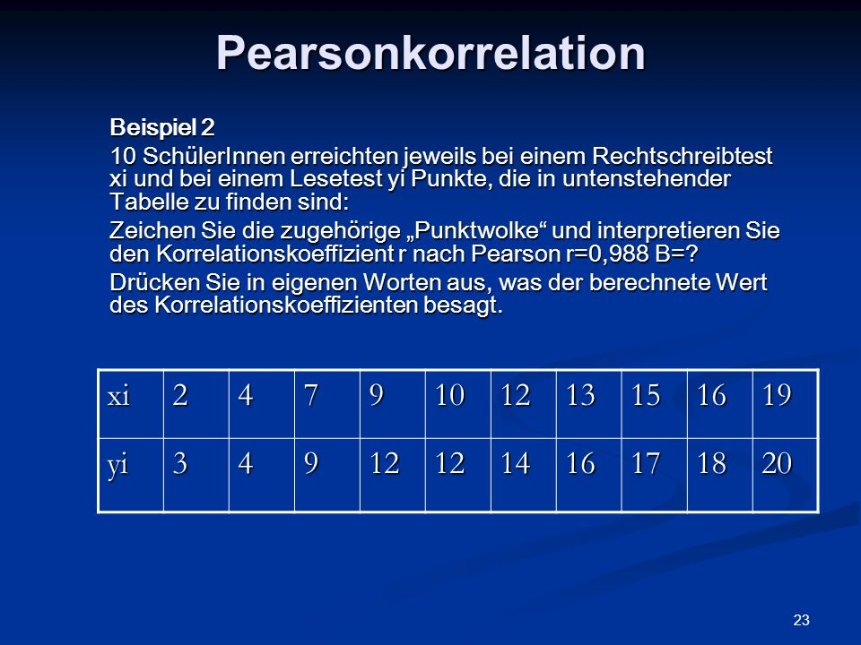 Pearsonkorrelation xi 2 4 7 9 10 12 13 15 16 19 yi 3 14 17 18 20
