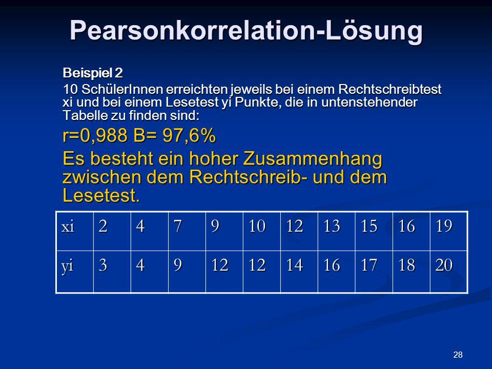 Pearsonkorrelation-Lösung