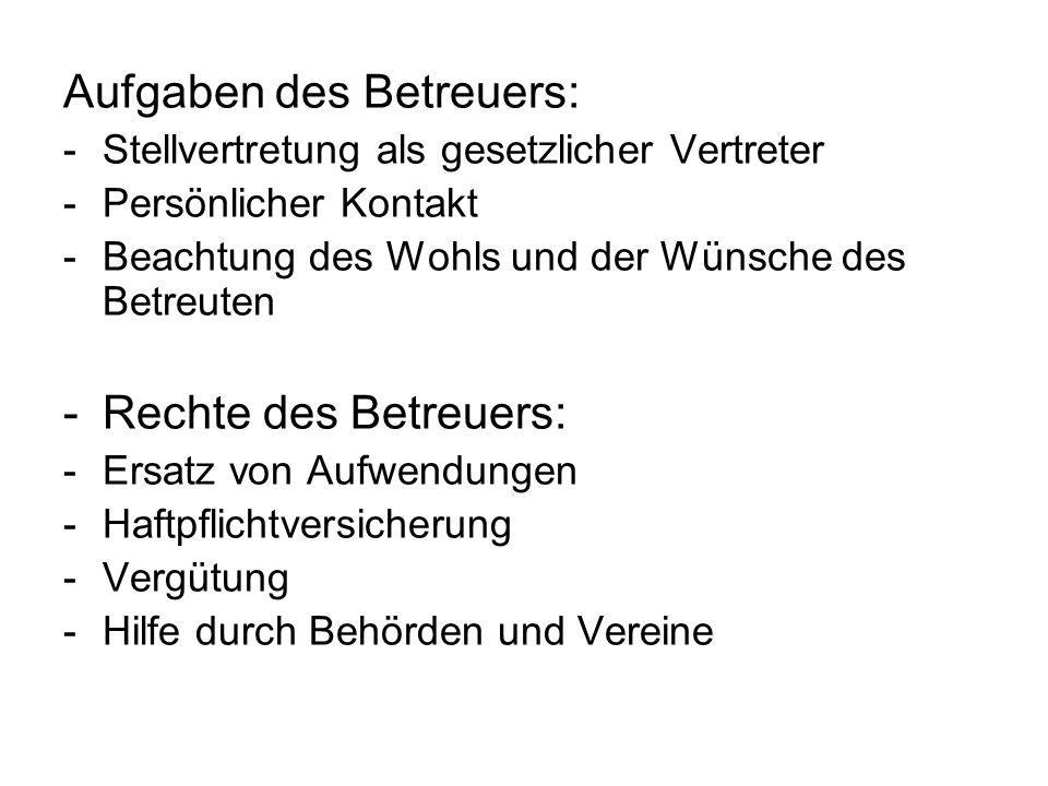 Aufgaben des Betreuers: