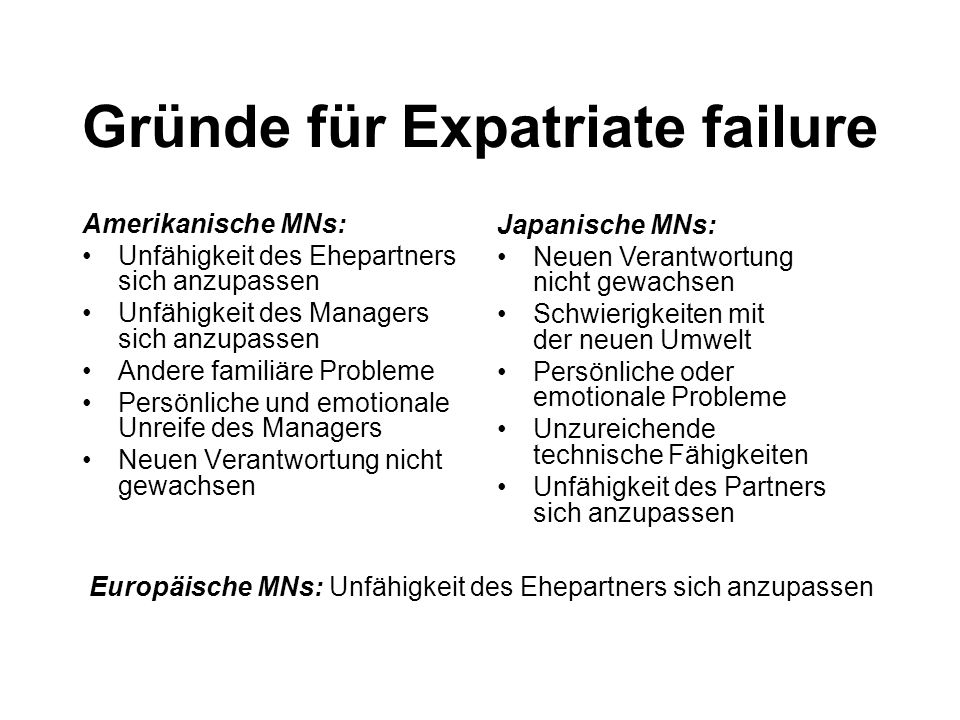 Gründe für Expatriate failure