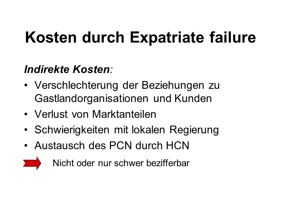 Kosten durch Expatriate failure