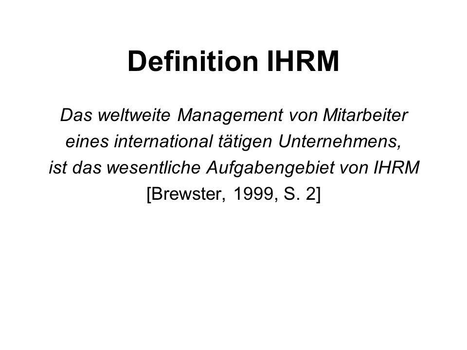 Definition IHRM Das weltweite Management von Mitarbeiter