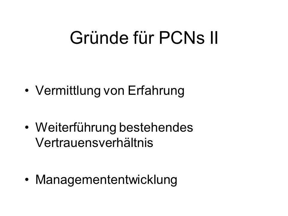 Gründe für PCNs II Vermittlung von Erfahrung