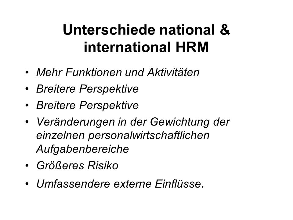 Unterschiede national & international HRM