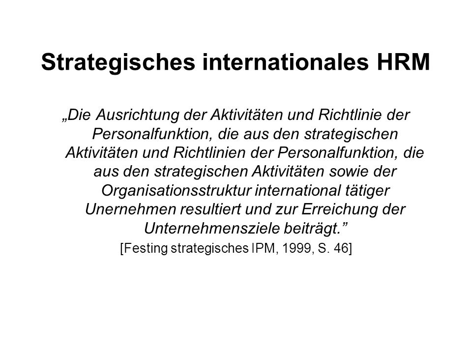 Strategisches internationales HRM
