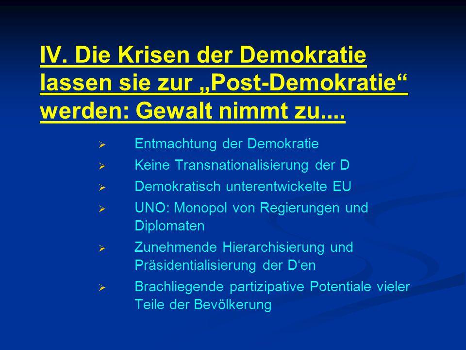 """IV. Die Krisen der Demokratie lassen sie zur """"Post-Demokratie werden: Gewalt nimmt zu...."""