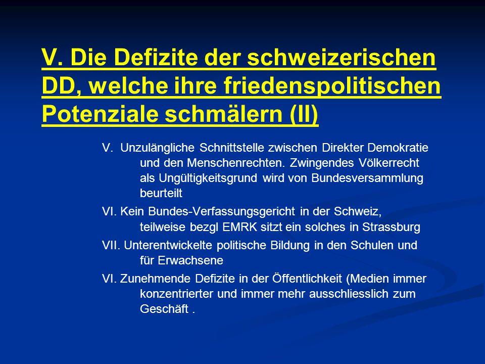 V. Die Defizite der schweizerischen DD, welche ihre friedenspolitischen Potenziale schmälern (II)