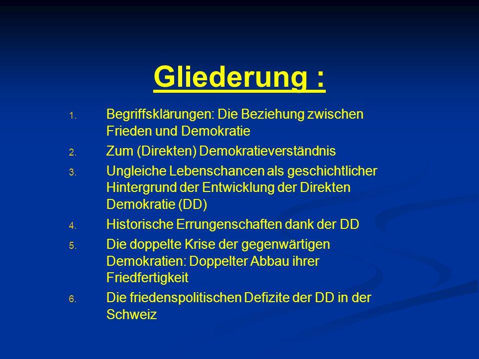 Gliederung : Begriffsklärungen: Die Beziehung zwischen Frieden und Demokratie. Zum (Direkten) Demokratieverständnis.