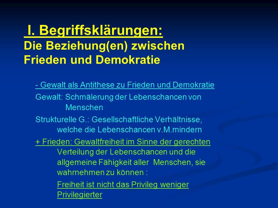 I. Begriffsklärungen: Die Beziehung(en) zwischen Frieden und Demokratie