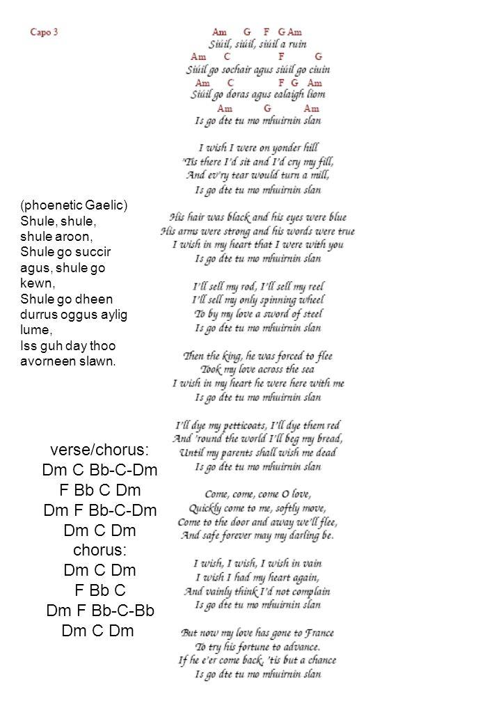 verse/chorus: Dm C Bb-C-Dm F Bb C Dm Dm F Bb-C-Dm Dm C Dm