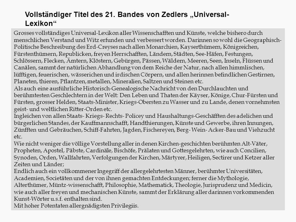 """Vollständiger Titel des 21. Bandes von Zedlers """"Universal-Lexikon"""