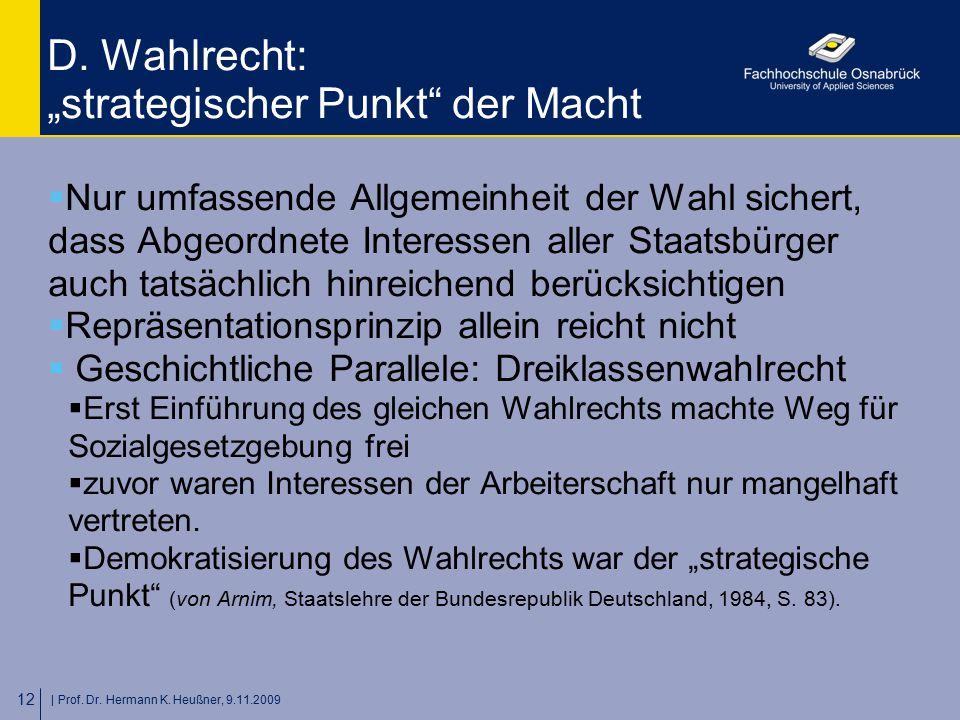 """D. Wahlrecht: """"strategischer Punkt der Macht"""