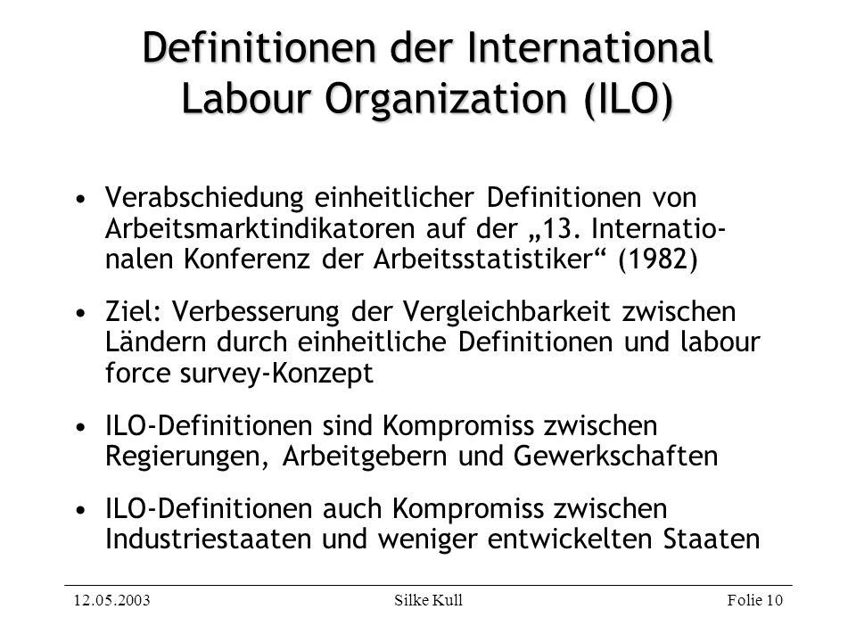 Definitionen der International Labour Organization (ILO)