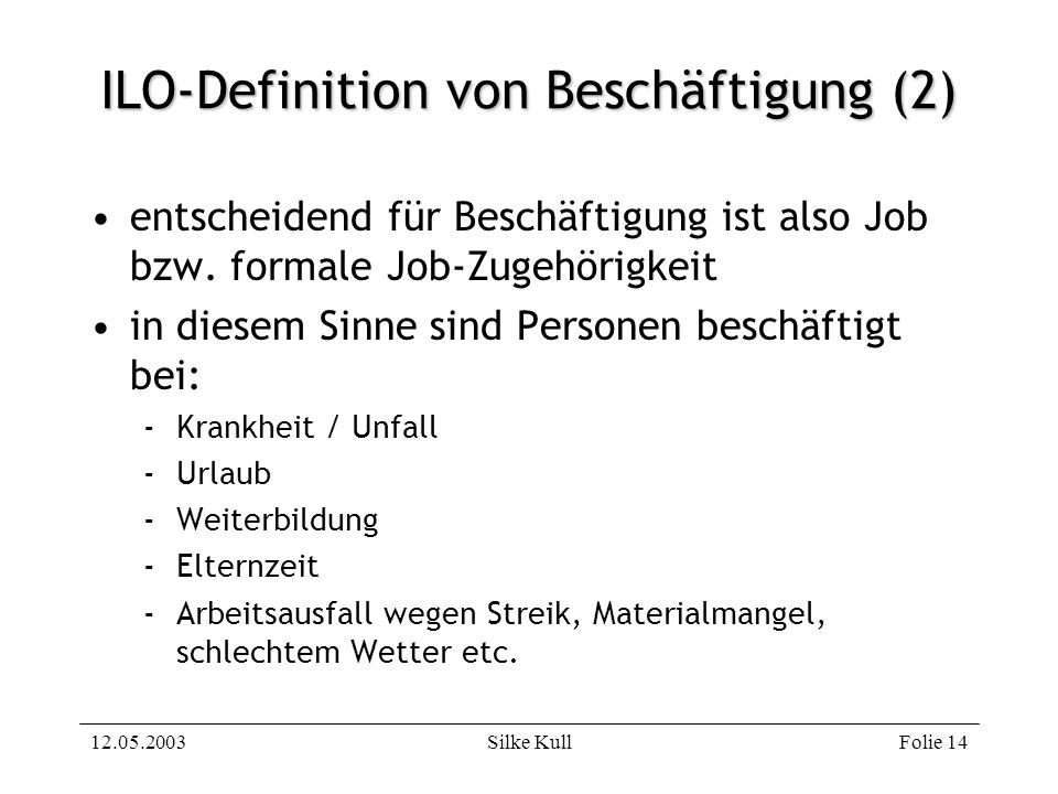 ILO-Definition von Beschäftigung (2)
