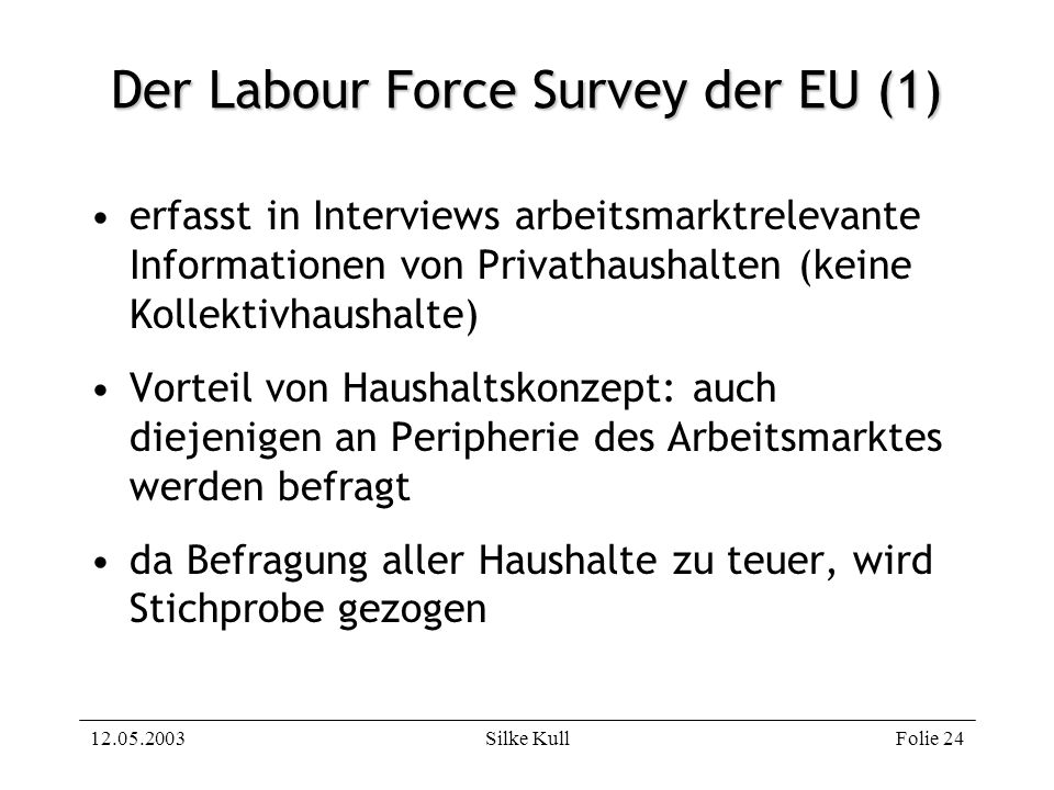 Der Labour Force Survey der EU (1)
