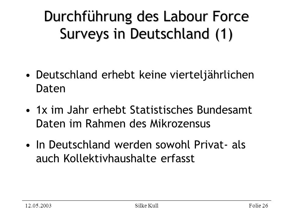 Durchführung des Labour Force Surveys in Deutschland (1)