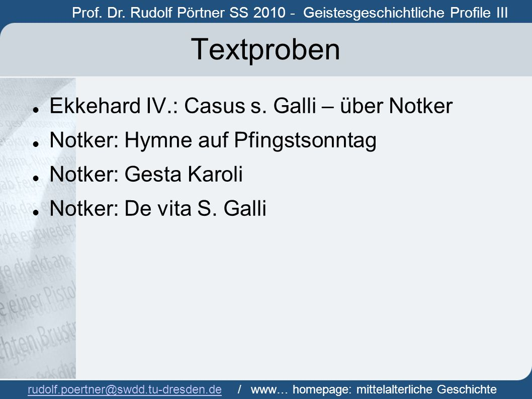 Textproben Ekkehard IV.: Casus s. Galli – über Notker