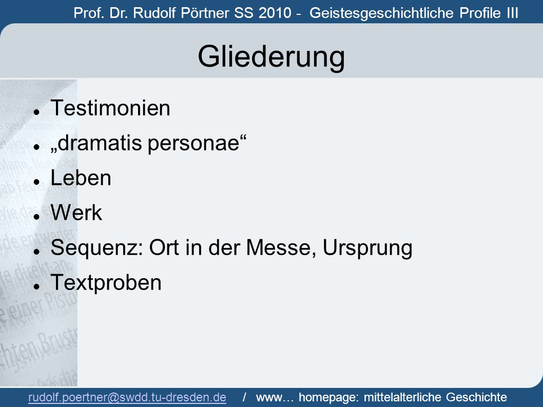 "Gliederung Testimonien ""dramatis personae Leben Werk"