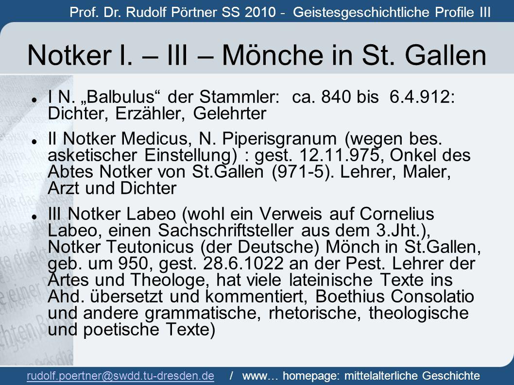Notker I. – III – Mönche in St. Gallen