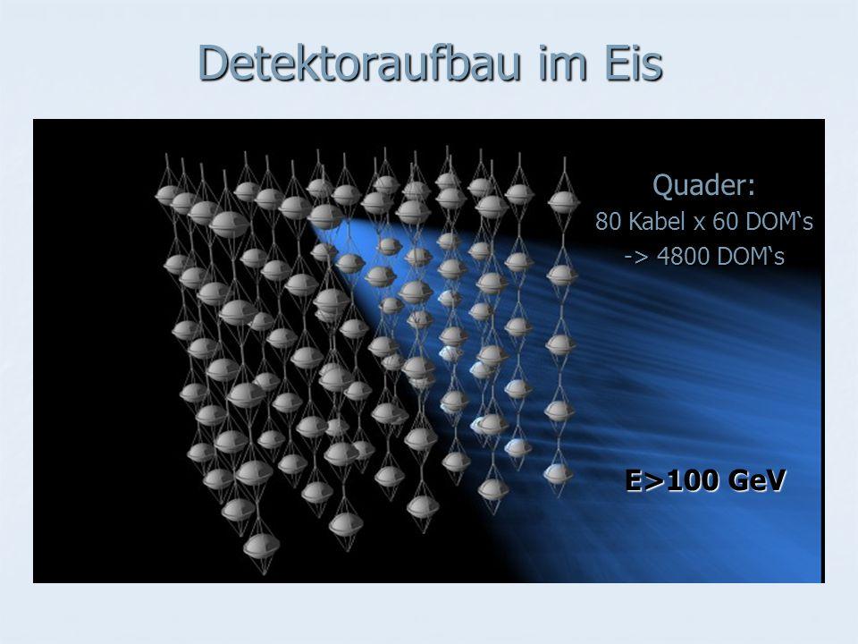 Detektoraufbau im Eis Quader: E>100 GeV 80 Kabel x 60 DOM's