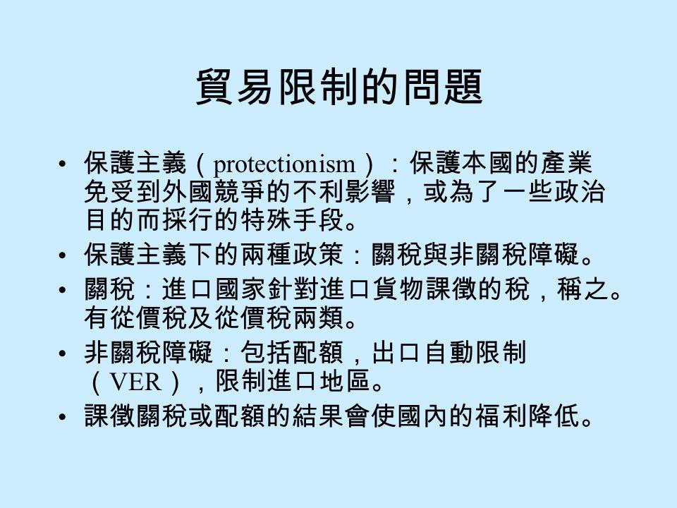 貿易限制的問題 保護主義(protectionism):保護本國的產業免受到外國競爭的不利影響,或為了一些政治目的而採行的特殊手段。