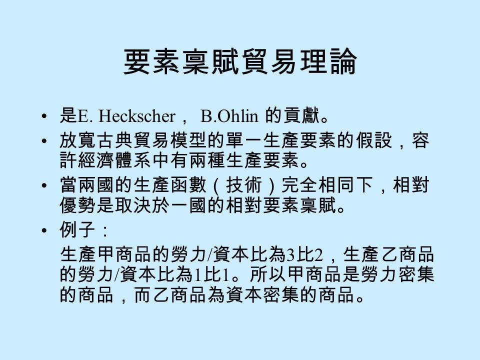 要素稟賦貿易理論 是E. Heckscher, B.Ohlin 的貢獻。