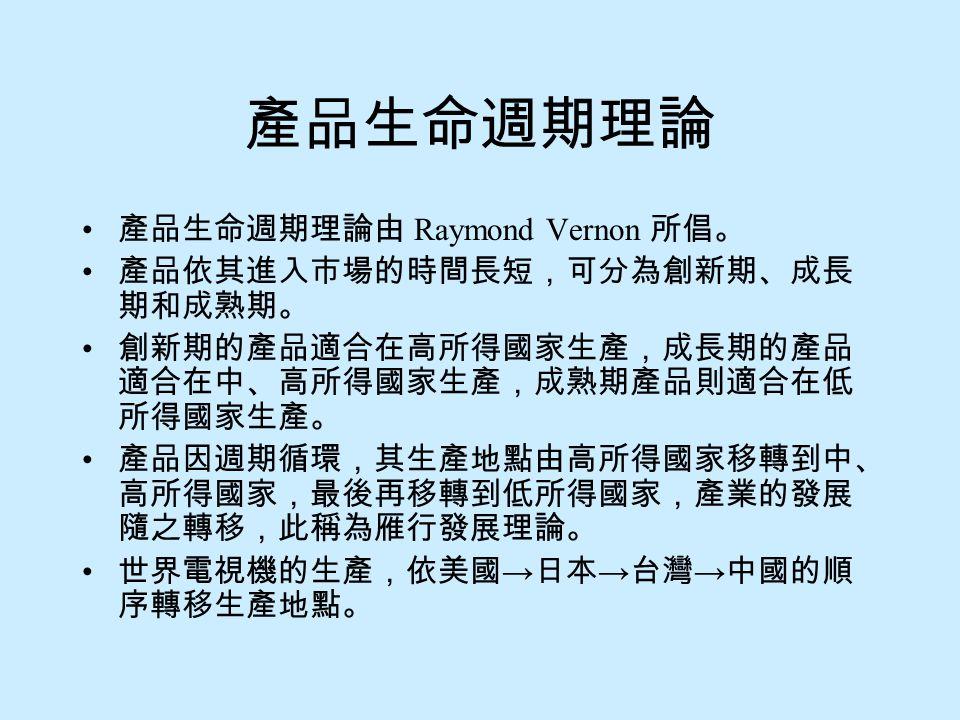 產品生命週期理論 產品生命週期理論由 Raymond Vernon 所倡。 產品依其進入市場的時間長短,可分為創新期、成長期和成熟期。