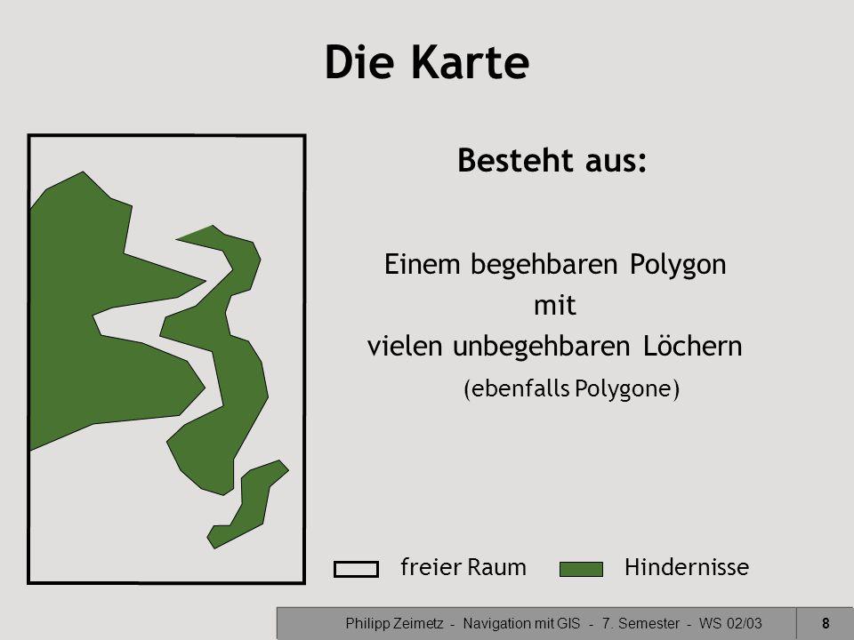 Die Karte Besteht aus: Einem begehbaren Polygon mit