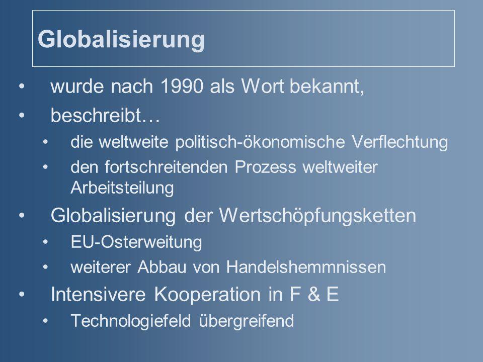 Globalisierung wurde nach 1990 als Wort bekannt, beschreibt…
