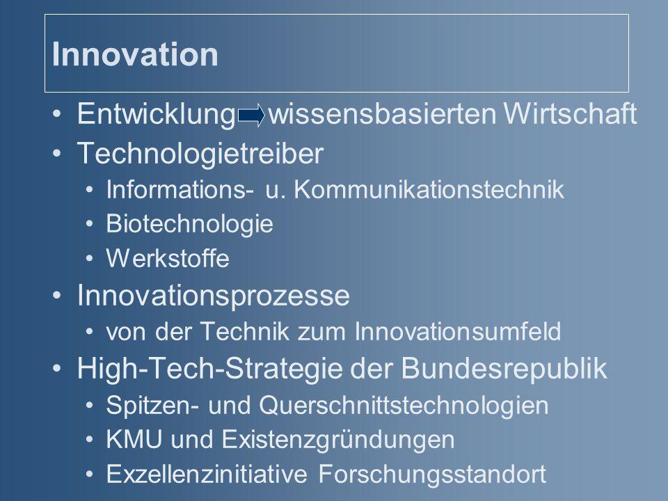 Innovation Entwicklung wissensbasierten Wirtschaft Technologietreiber