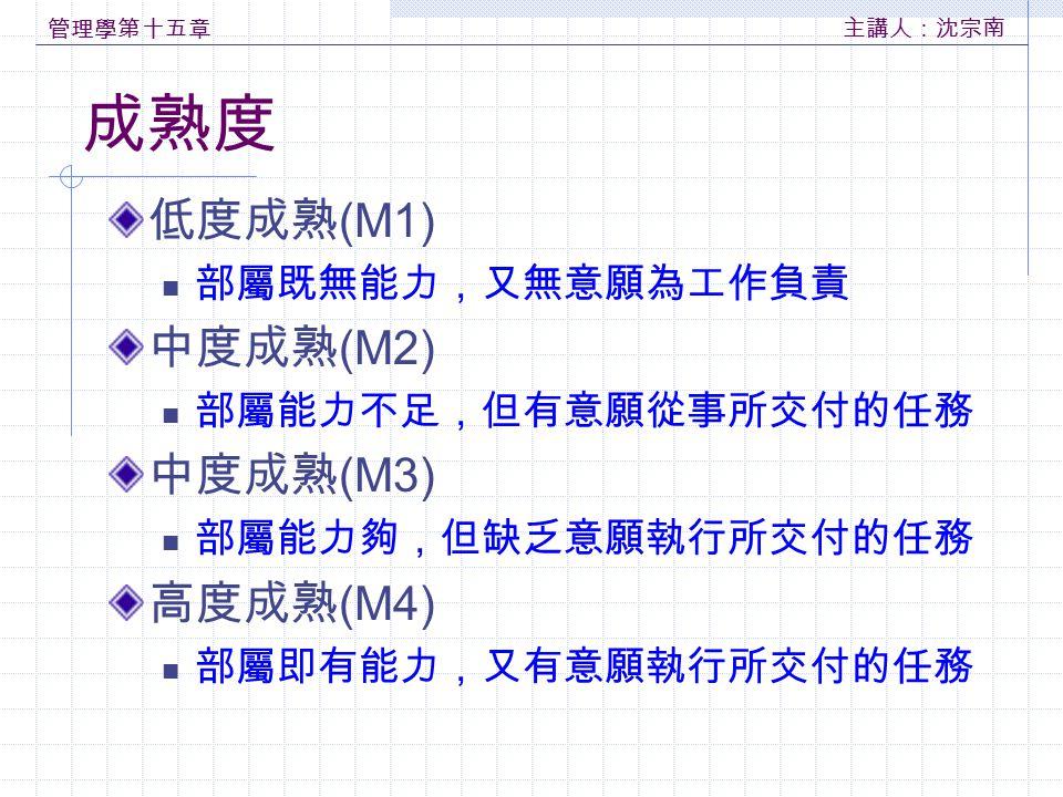 成熟度 低度成熟(M1) 中度成熟(M2) 中度成熟(M3) 高度成熟(M4) 部屬既無能力,又無意願為工作負責