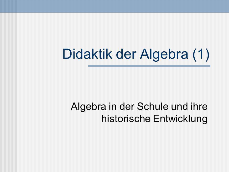 Didaktik der Algebra (1)