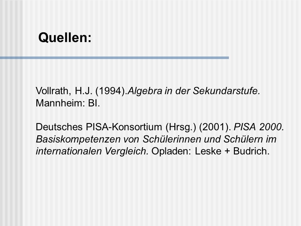 Quellen: Vollrath, H.J. (1994).Algebra in der Sekundarstufe. Mannheim: BI.