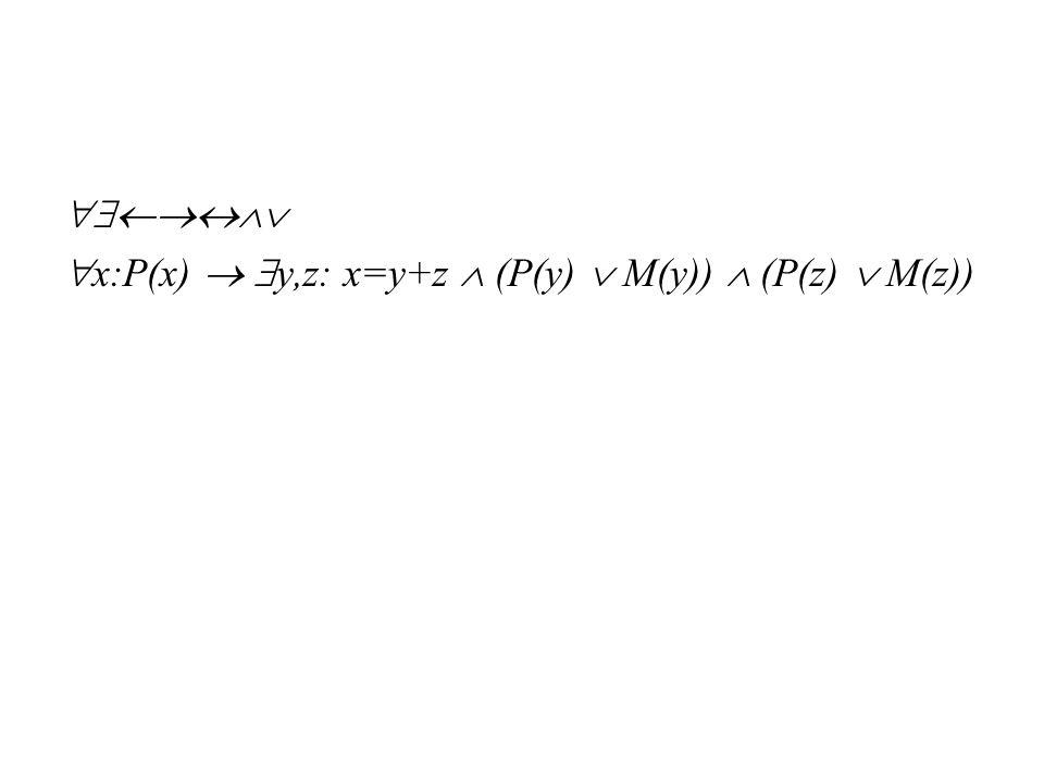  x:P(x)  y,z: x=y+z  (P(y)  M(y))  (P(z)  M(z))
