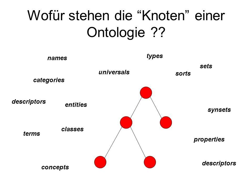 Wofür stehen die Knoten einer Ontologie