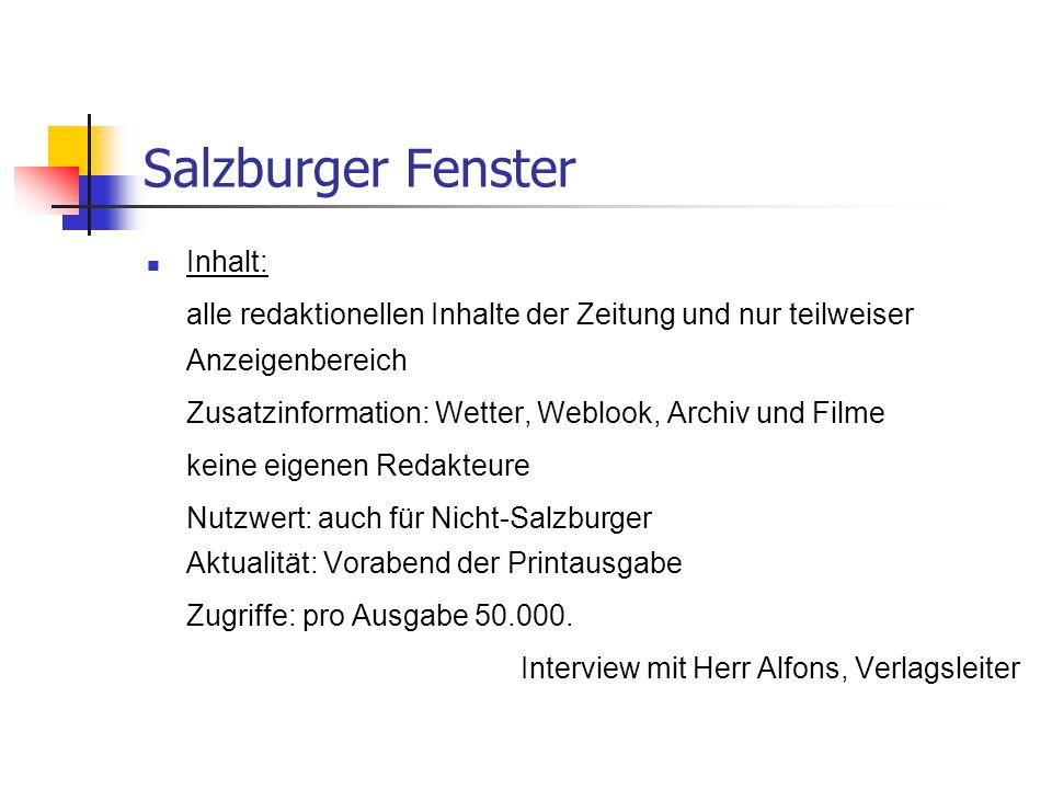 Salzburger Fenster Inhalt: