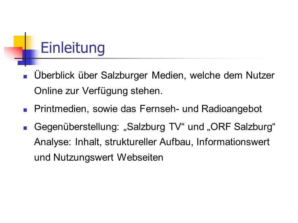 Einleitung Überblick über Salzburger Medien, welche dem Nutzer Online zur Verfügung stehen. Printmedien, sowie das Fernseh- und Radioangebot.