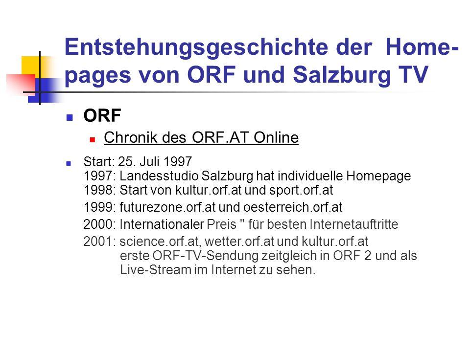 Entstehungsgeschichte der Home-pages von ORF und Salzburg TV