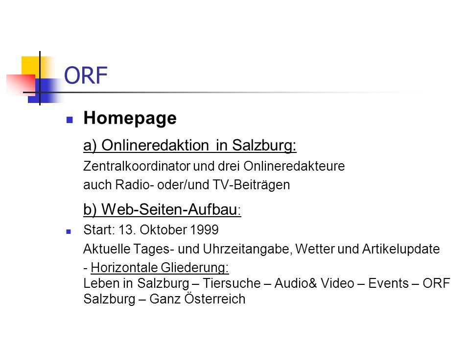 ORF Homepage a) Onlineredaktion in Salzburg: b) Web-Seiten-Aufbau: