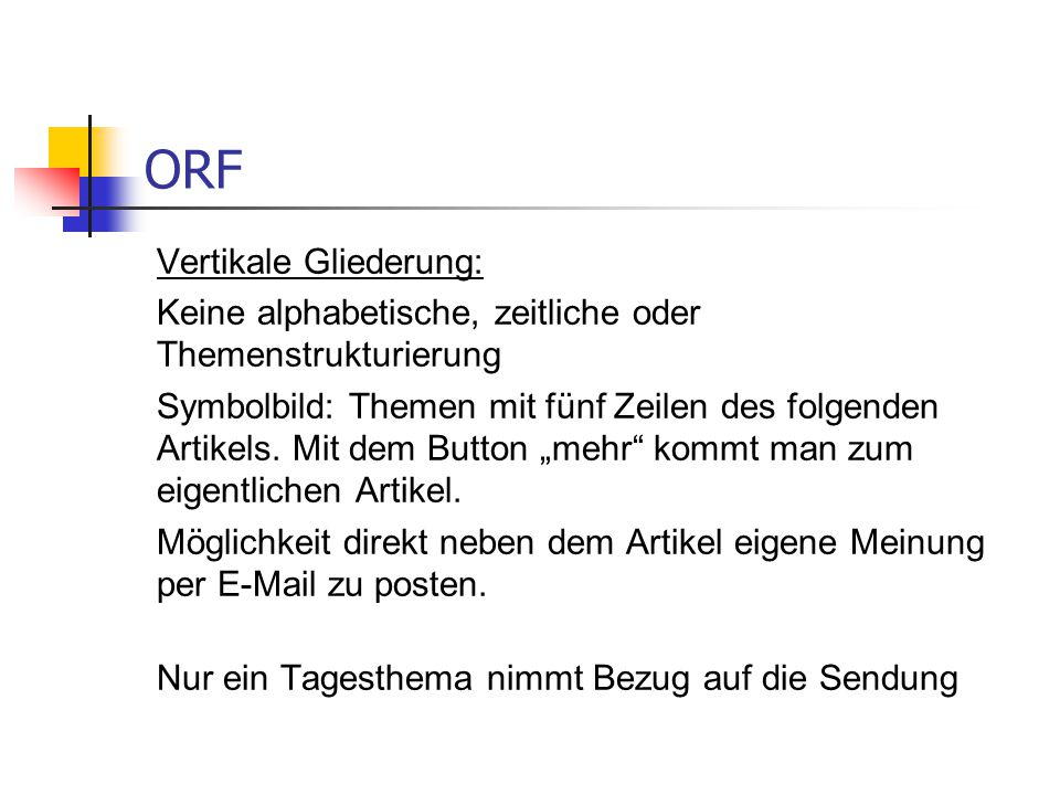 ORF Vertikale Gliederung: