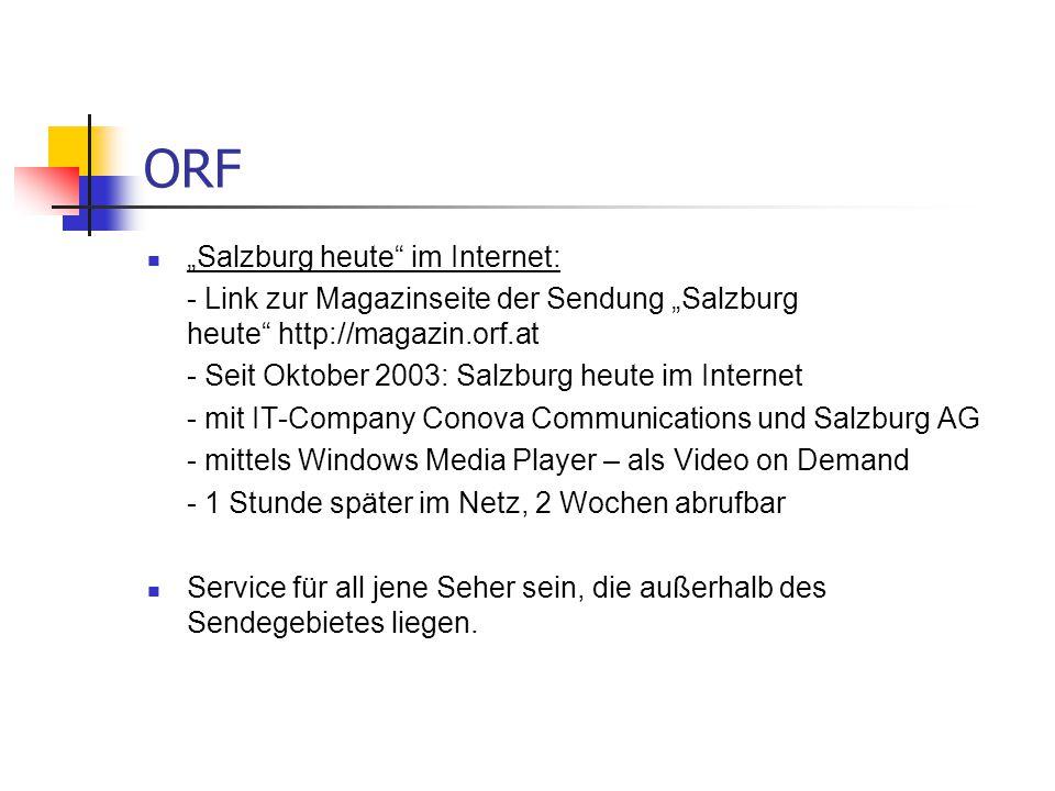 """ORF """"Salzburg heute im Internet:"""