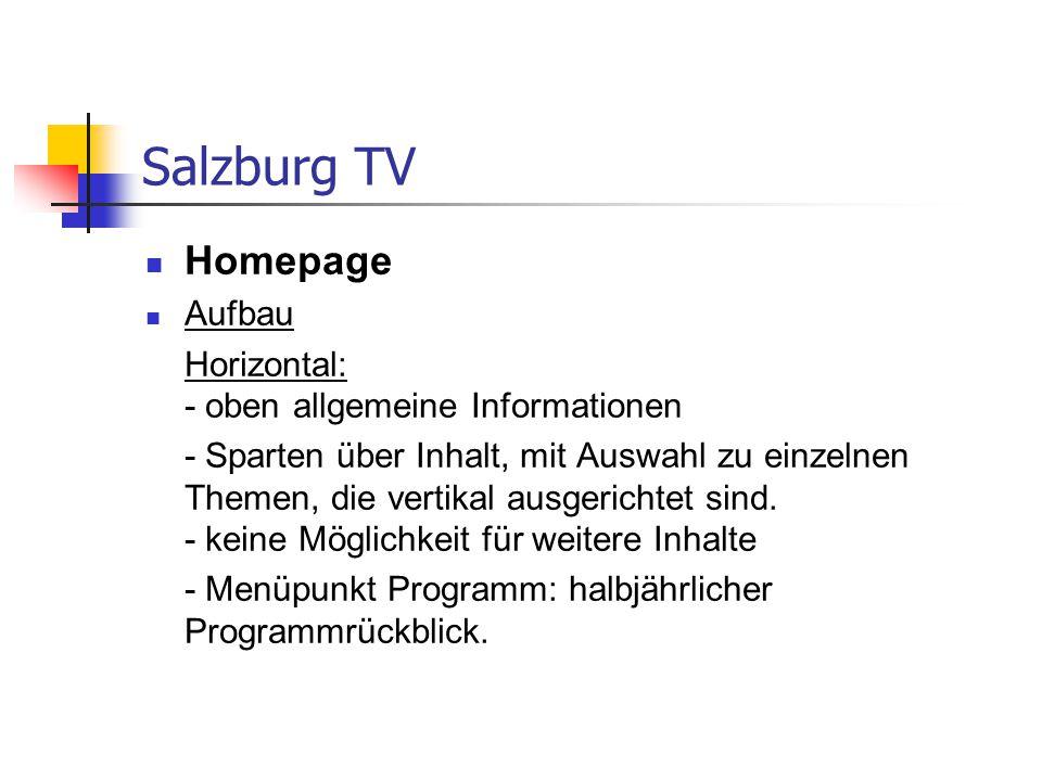 Salzburg TV Homepage Aufbau